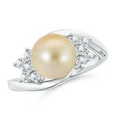 Golden South Sea Cultured Pearl Floral Ring with Diamonds