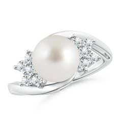South Sea Cultured Pearl Floral Ring with Diamonds