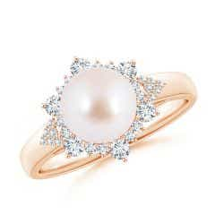 Akoya Cultured Pearl Ring with Floral Diamond Halo