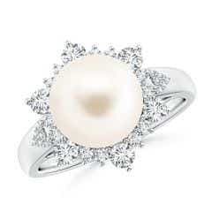 Freshwater Cultured Pearl Ring with Floral Diamond Halo