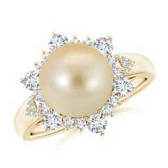 Golden South Sea Cultured Pearl Ring with Floral Diamond Halo