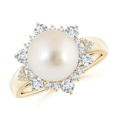 South Sea Cultured Pearl Ring with Floral Diamond Halo
