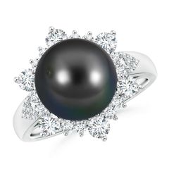 Tahitian Cultured Pearl Ring with Floral Diamond Halo