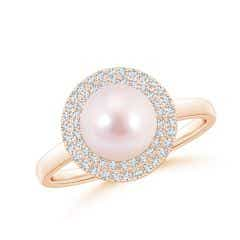 Akoya Cultured Pearl and Diamond Double Halo Ring