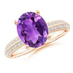 Classic Oval Amethyst Knife Edge Ring