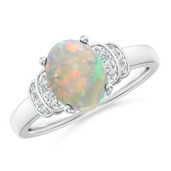 Solitaire Oval Opal and Diamond Collar Ring