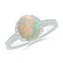 Classic Solitaire Oval Opal and Diamond Collar Ring