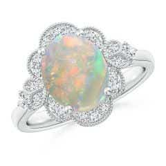 Victorian Style Oval Opal and Diamond Halo Engagement Ring