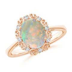 Vintage Style Oval Opal and Diamond Scroll Engagement Ring