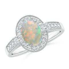 Oval Opal Halo Ring with Milgrain Detailing