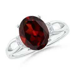 Solitaire Garnet Split Shank Ring with Diamonds