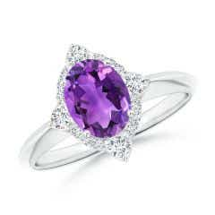 Oval Amethyst Compass Ring with Diamond Halo
