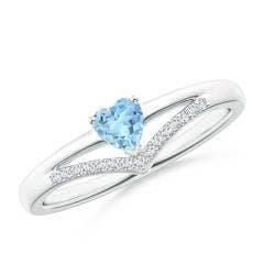 Solitaire Heart Aquamarine and Diamond Chevron Ring