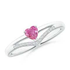 Solitaire Heart Pink Sapphire and Diamond Chevron Ring