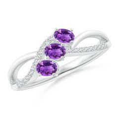 Oval Amethyst Three Stone Bypass Ring with Diamonds