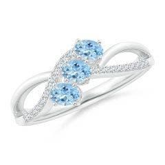 Oval Aquamarine Three Stone Bypass Ring with Diamonds