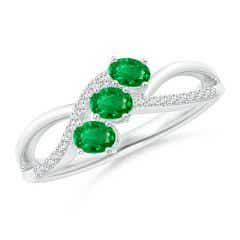 Oval Emerald Three Stone Bypass Ring with Diamonds