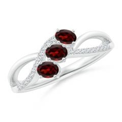 Oval Garnet Three Stone Bypass Ring with Diamonds
