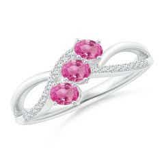 Oval Pink Sapphire Three Stone Bypass Ring with Diamonds
