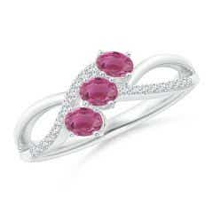 Oval Pink Tourmaline Three Stone Bypass Ring with Diamonds