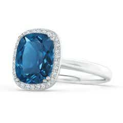 GIA Certified Cushion London Blue Topaz Cocktail Ring