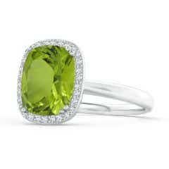 GIA Certified Cushion Peridot Cocktail Ring with Diamond Halo - 3.21 CT TW