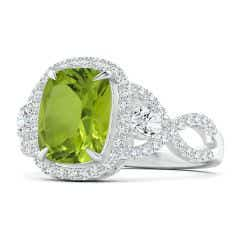 GIA Certified Peridot Crossover Ring with Halo - 3.74 CT TW
