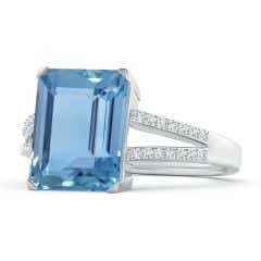 GIA Certified Emerald-Cut Aquamarine Cocktail Ring
