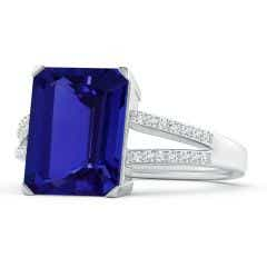 GIA Certified Emerald-Cut Tanzanite Cocktail Ring