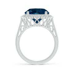 Toggle GIA Certified London Blue Topaz Scalloped Halo Ring - 7.68 CT TW