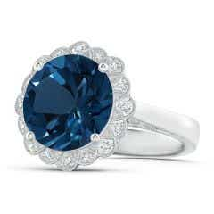 GIA Certified London Blue Topaz Scalloped Halo Ring