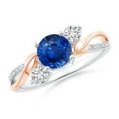 Sapphire and Diamond Twisted Vine Ring