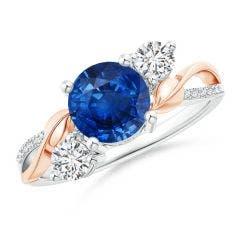 Angara Blue Sapphire and Diamond Ivy Scroll Ring IU5YjanDV
