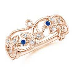 Vintage Style Blue Sapphire and Diamond Flower Scroll Ring