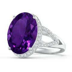 GIA Certified Amethyst Split Shank Ring with Diamond Accents
