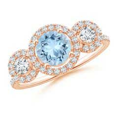 Round Aquamarine and Diamond Three Stone Halo Ring