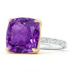 Two Tone GIA Certified Cushion Amethyst Ring with Diamonds