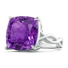 Claw-Set GIA Certified Cushion Amethyst Crossover Ring