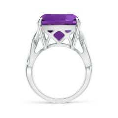 Toggle Claw-Set GIA Certified Cushion Amethyst Crossover Ring