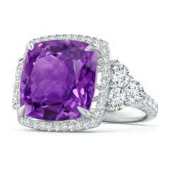 Solitaire GIA Certified Cushion Amethyst Ring in Two Tone
