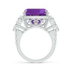 Toggle Solitaire GIA Certified Cushion Amethyst Ring in Two Tone