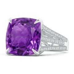 GIA Certified Cushion Amethyst Double Split Shank Ring