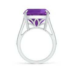 Toggle GIA Certified Cushion Amethyst Double Split Shank Ring
