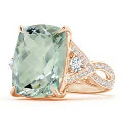 GIA Certified Rectangular Cushion Green Amethyst Ring