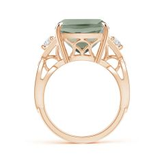 Toggle GIA Certified Rectangular Cushion Green Amethyst Ring
