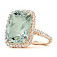 GIA Certified Rectangular Cushion Green Amethyst (Prasiolite) Halo Ring