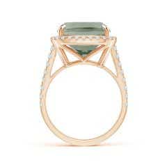 Toggle GIA Certified Rectangular Cushion Green Amethyst Halo Ring
