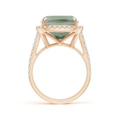 Toggle GIA Certified Rectangular Cushion Green Amethyst (Prasiolite) Halo Ring