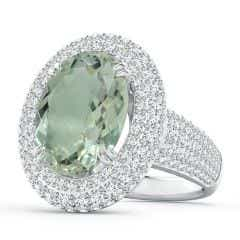 GIA Certified Oval Green Amethyst (Prasiolite) Triple Halo Ring
