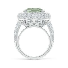 Toggle GIA Certified Oval Green Amethyst Triple Halo Ring